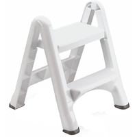 Rubbermaid 2-Tier 300 lb Capacity Folding Flat Plastic Sturdy Step Stool Ladder