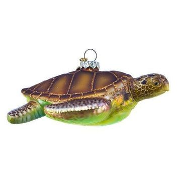 SeaWorld Turtle Glass Christmas Ornament New with Tag