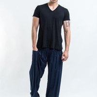 Solid Color Men's Harem Pants in Blue