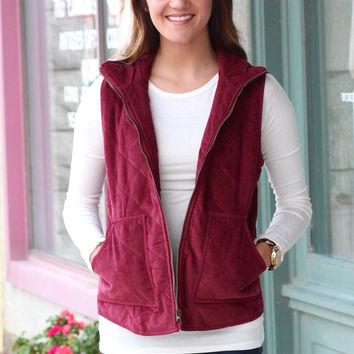 Corduroy Quilted Vest {Burgundy}