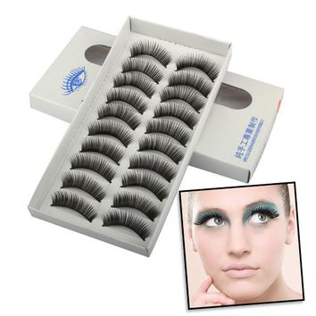 New Handmade 10 Pairs Natural Long Thick Black False Eyelashes Charming Eye Lashes Makeup H7JP