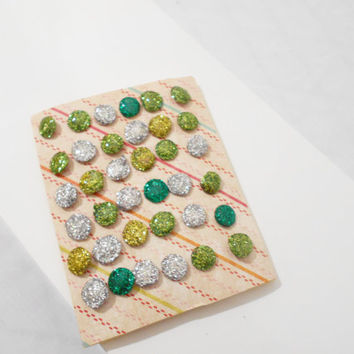 36 Hard Candy Holographic Thumbtacks for Memo Boards, in Green and Silver