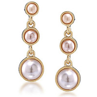 Carolee Peach Blossom Triple Drop Pierced Earrings - Gold/Pearl
