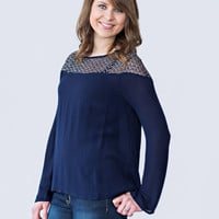 Navy Mesh Knit Top