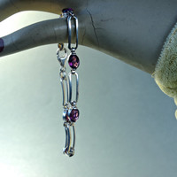 Vintage Amethyst and Sterling Silver Bracelet made in Italy