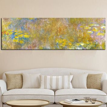 Sale handpainted Claude Monet Oil Painting Lotus Oil Painting on Canvas Impressionist Wall Art Picture Poster for Living Room