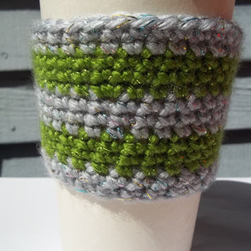 Silver and Green Striped Coffee Cozy