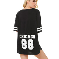 Chicago 88 Graphic Print Baseball Jersey Top
