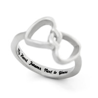 "Double Hearts Lovers Ring, Promise Ring Wedding Band Ring ""My Heart Forever Next to Yours"" Engraved on Inside Best Gift for Friend or Loved"