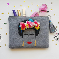 FRIDA Kahlo Felt  Clutch & Handbag, Small Felt  Bag. Felt  Makeup Bag.  Cosmetic Bag. Glitter Bag, FREE SHIPPING