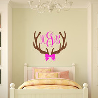 Girls Room~ Hunting Decal~Nursery Room Wall Decal~Deer~Deer Decal, Girls Nursery, Baby Nursery, Girls Hunt Too, Antler, Monogram