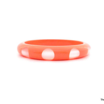 Vintage Lucite peach soft orange moonglow dot bangle bracelet