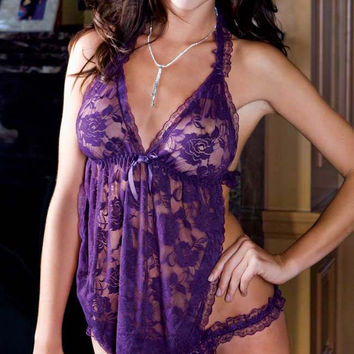 Purple Floral Lace Badydoll and Panty