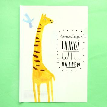 "A4 Giraffe Print ""Amazing Things Will Happen"" Quote Plastic Clear Sliding Bar File Folder Organizer"