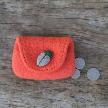 "L for Ladybirds ""  wool felted red orange purse with felted  beetle button"