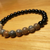Mala Bracelet with Petrified Wood and Black Onyx - Simple Natural Bracelet, Wood Gemstone Jewelry, Delicate Bracelet, Onyx Accessories