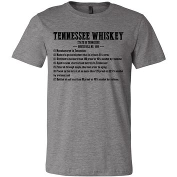 Adult Tennessee Whiskey Requirements on a Deep Heather T-Shirt