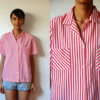 Vtg Mixed Stripes Red White SS Button Down Cotton Shirt