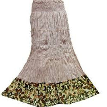 Gypsy Long Skirts Bohemian Beach Dress Tapue Floral Border Maxi Skirt