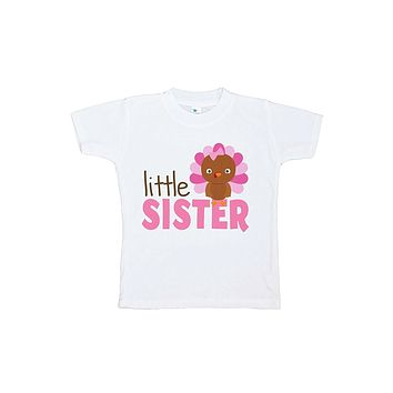 Custom Party Shop Baby Girl's Little Sister Thanksgiving Tshirt