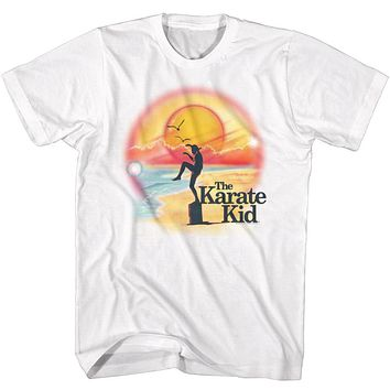 The Karate Kid Tall T-Shirt Airbrush Beach Balance White Tee