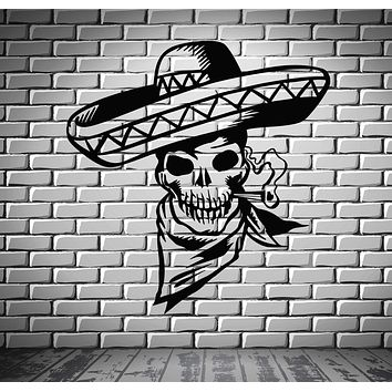 Mexican Sombrero Smoking Skull Scary Decor Wall MURAL Vinyl Art Sticker Unique Gift z799