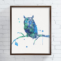 Blue Owl, Watercolor Owl Painting, Owl Art Print, Woodland Animals, Boys Room Decor, Watercolor Animal Nursery, Kids Room Decor, Owl Poster