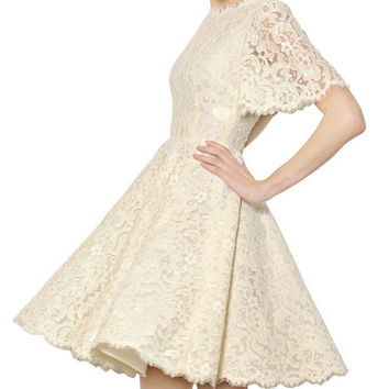 White Short Bell Sleeve Lace Skater Dress