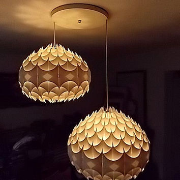 Vintage 1969 Wilhelm Vest Austria Mid Century Modern Sculptural Double Hanging Light