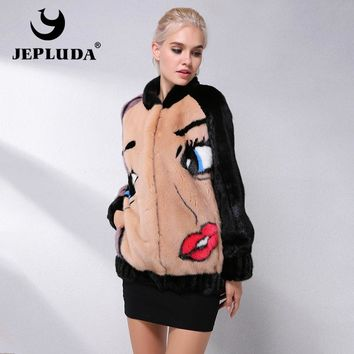 JEPLUDA New Mink Fur Coat Women Fashion Baseball Style Natural Real Fur Coat Mink Jacket Women Winter Mink Coats Women Overcoat