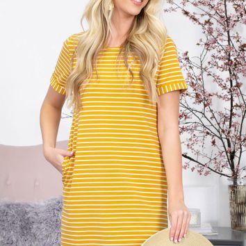 Sunshine Button Pocket Dress | Mustard