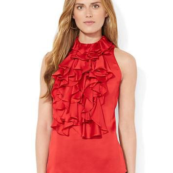Lauren Ralph Lauren Ruffled Halter Top