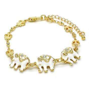Gold Layered Fancy Bracelet, Elephant and Crown Design, with Crystal, Golden Tone