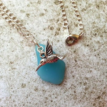 Aqua Hummingbird Necklace, Nature Jewelry, Silver Bird Necklace, Eco Necklace, Recycled Glass Jewelry, Light Blue, Etsy Jewelry, Colorful