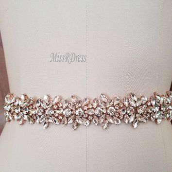 Wedding Dress Belt Bridal Belt Rose Gold Flower Crystal MissRDressWedding Ribbons Rhinestones Belts Wedding Decoration JK817