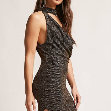 Metallic Mock Neck Dress