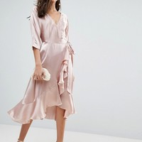ASOS Wrap Ruffle Midi Dress at asos.com