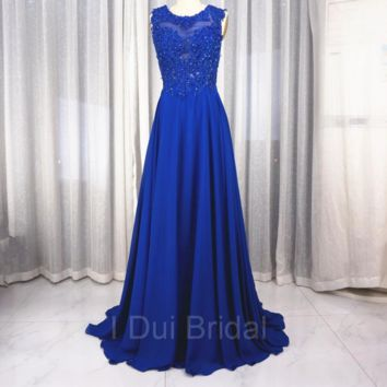 A line Chiffon Prom Dresses with Sweep Train Sexy Prom Dresses with Lace Appliques Open Back Prom Dresses