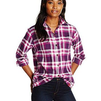 Dickies Women's Long Sleeve Plaid Flannel Shirt, Purple Pennant Pink Berry/Check, Large