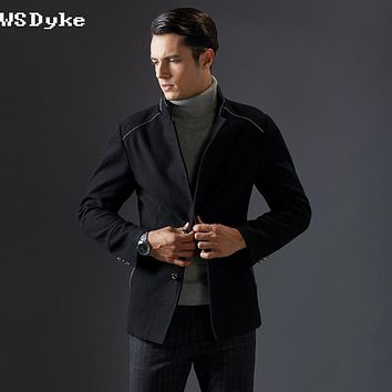 Stand Collar Black Dark Blue Colors Outerwear Men Wool