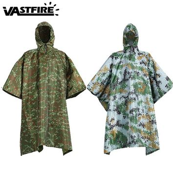 Multi-function Military Waterproof camouflage raincoat Impermeable Camo Men Women Hunting  Army Hooded Ripstop Rain Poncho