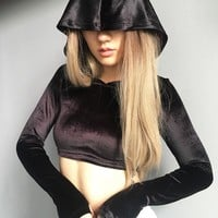 Ladies Hoodies Winter Sexy Crop Top Hats [68970020879]