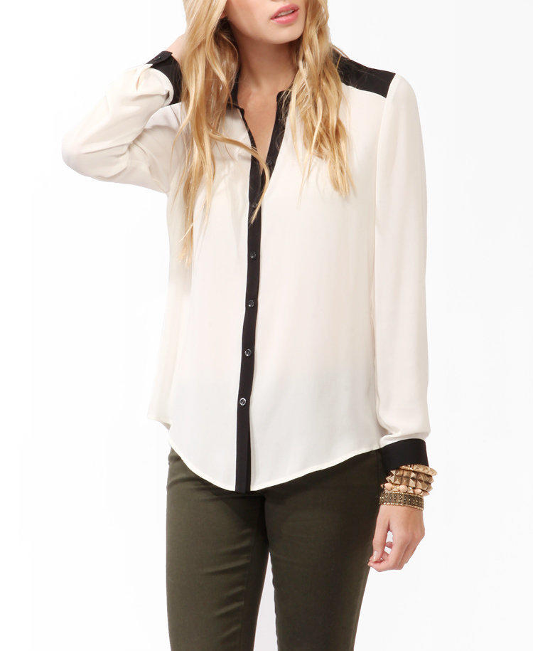 Metallic Trimmed Button Up Blouse From Forever 21 Epic