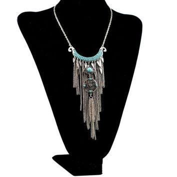 Bohemian Style Silver Plated Alloy Moon Shape Rhinestone Blue Beads Tassel Necklace (color: Silver)