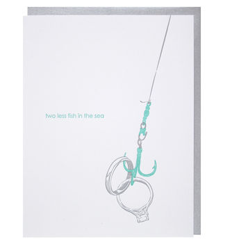 Fish Hook and Rings Engagement Card