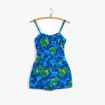 50s KAMEHAMEHA Hawaiian PLAYSUIT / 1950s Blue Tropical Print Cotton Swimsuit S - M
