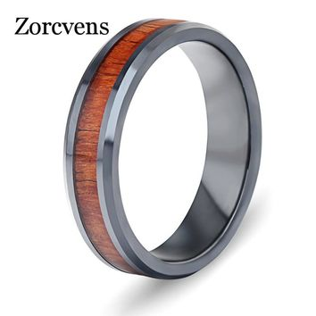 ZORCVENS 2018 New Wood Ceramic Ring For Men Wedding Party Classic Finger Jewelry