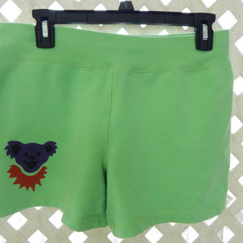 Upcycled Recycled Grateful Dead Dancing Bear Shorts Lime Green Size L Womens Shorts OOAK Shorts upcycled clothing