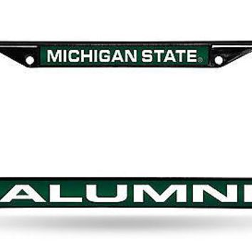 Michigan State Spartans BLACK ALUMNI Laser Frame Metal License Plate University