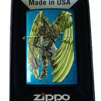 Zippo Custom Lighter - Angel Wings Warrior w/ Flail Weapon Cerulean Blue 24534CI015943